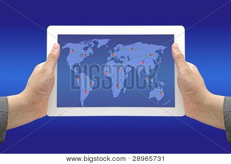 Business Hand Hold Technology Touch Screen Pad with Social Networking Diagram Concept