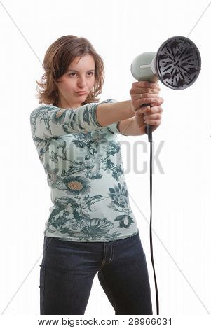 Woman Shoots With Hairdryer