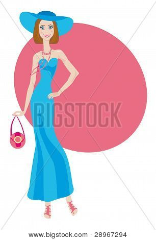 Glamour Lady In Blue Dress