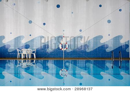 Pool Side And Reflect In Water