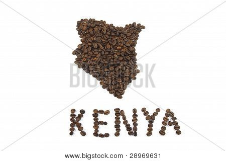 Coffee Beans in the Shape of Kenya