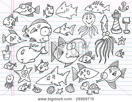 Notebook Doodle Summer Ocean Animal Design Elements Vector Illustration Set