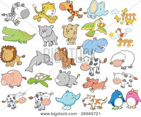 Cute Wild Farm Animal Vector Design Elements Set