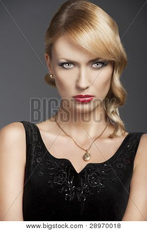 Old Fashion Blond Girl, In Front Of The Camera