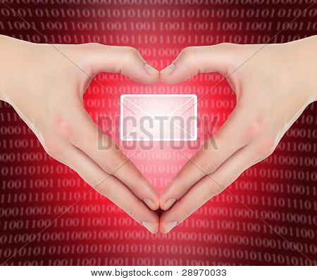 Female Hands In Shape Of A Heart Holding Valentine's E-mail Message