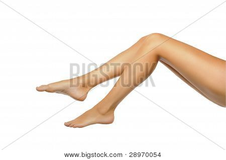 Healthy Sexy Slander Female Legs Isolated On White Background