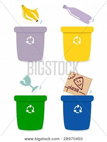 Garbage Separation Boxes By Colors Isolated On White