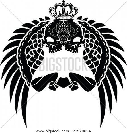 One Color Crown Skull Wings