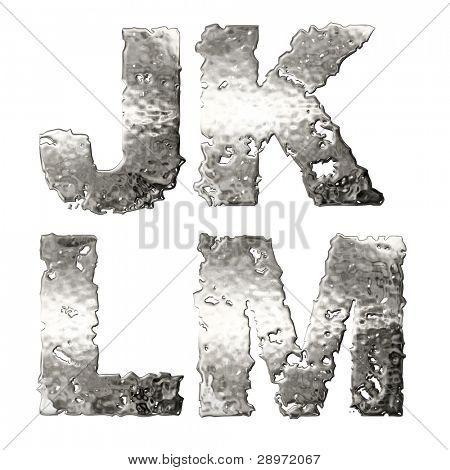 Metallic alphabet isolated on white background.