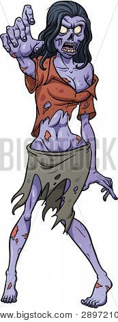 Scary zombie girl. Vector illustration with simple gradients. All in a single layer.