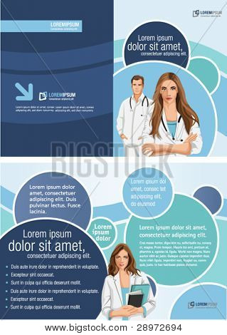Medical template for advertising brochure with doctors