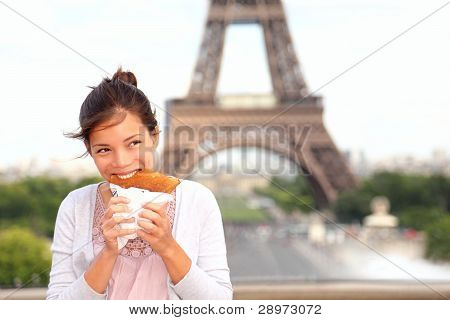 Paris Woman By Eiffel Tower