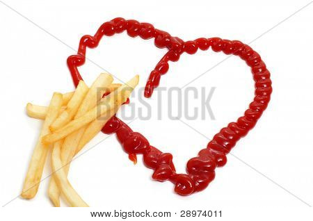some french fries and a ketchup heart on a white background