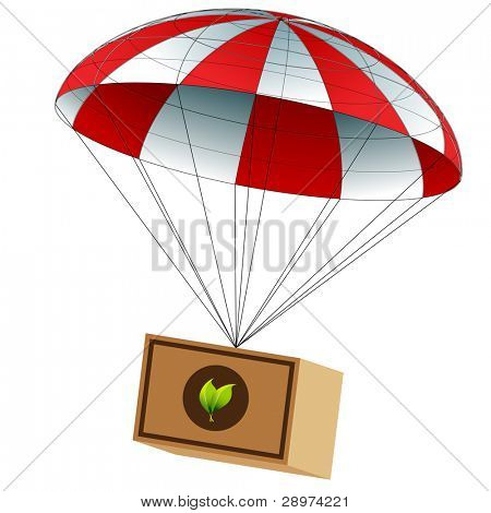 An image of a charitable food supply package attached to a parachute.
