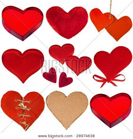 collection  of red hearts  isolated on white background