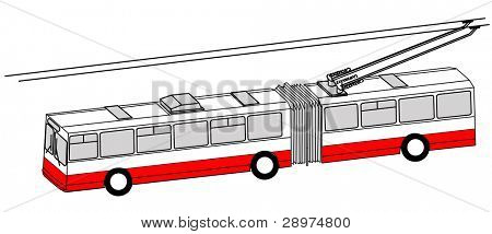trolley bus silhouette on white background