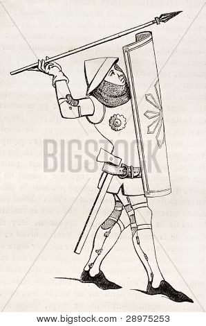 Medieval soldier old illustration. After 14th century print, published on Magasin Pittoresque, Paris, 1845