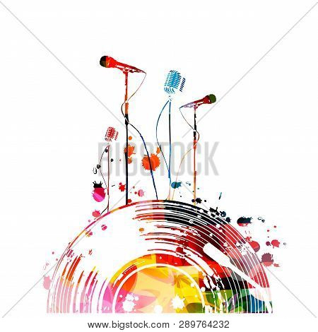 poster of Music Background With Colorful Vinyl Record And Microphones Vector Illustration Design. Artistic Kar