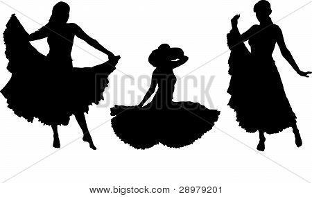 girl in gipsy skirt silhouettes set