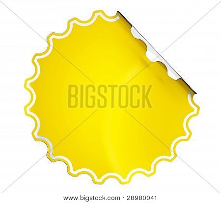 Round Yellow Hamous Sticker Or Label