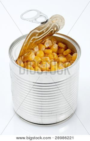 Sweet corn in a can, close up