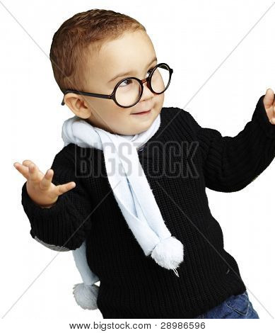 portrait of adorable kid gesturing doubt against a white background