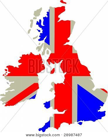 Britain - country outline and flag.