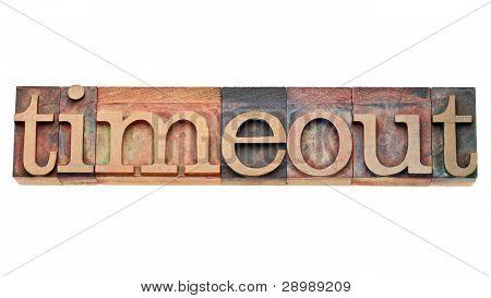 Timeout - Word In Letterpress Type
