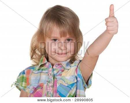 Pretty Blonde Girl Holding Her Thumb Up