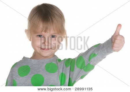 Little Girl Holding Her Thumb Up