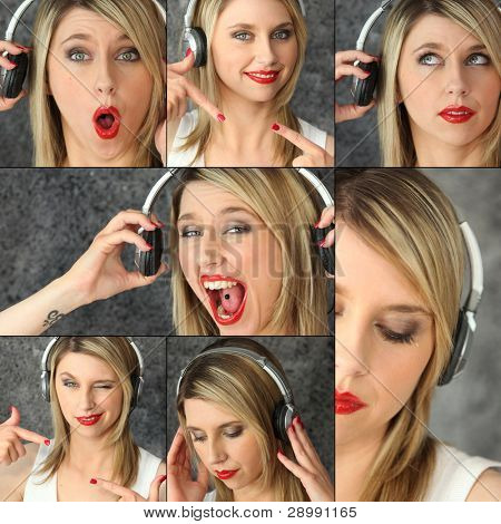 blonde with red lipstick and headset striking poses