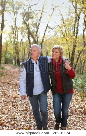 Couple taking romantic stroll in the park
