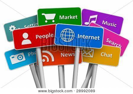 Internet y redes sociales concepto