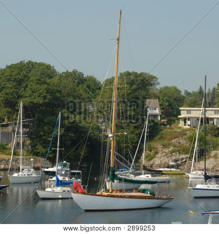 Sail Boat In Harbor At Perkins Cove In Oqunquit Maine