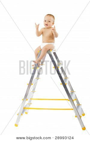 Adorable Child Sitting On Top Of Stepladder, Hands Raise Up.