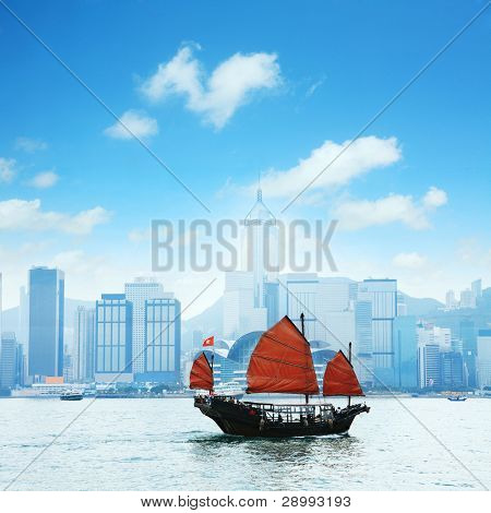 view of Hong Kong's Vicotria harbor with one chinese boat through the river