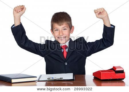 Winner businessman in the office isolated on a over white background
