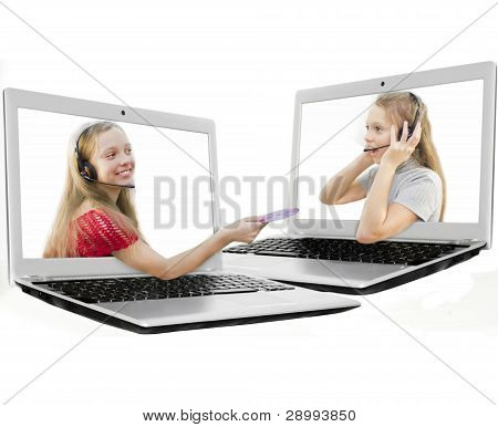 Girl  giving a disc to  other girl