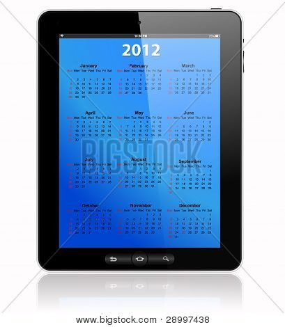 Calendar For 2012 In Tablet Pc On Blue
