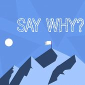 Handwriting Text Say Whyquestion. Concept Meaning Give An Explanation Express Reasons Asking A Quest poster
