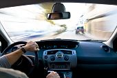 stock photo of speedo  - Inside a car at high speed - JPG