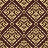 Classic Seamless Vector Golden Pattern. Damask Orient Ornament. Classic Vintage Background. Orient O poster