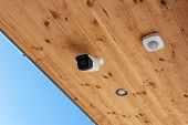 Modern Outdoor Cctv Camera On A Ceiling. Concept Of Surveillance And Monitoring. Surveillance Camera poster