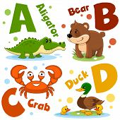 A Set Of Letters With Pictures Of Animals, Words From The English Alphabet. For The Education Of Chi poster