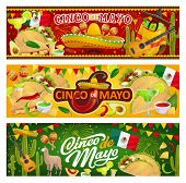 Mexican Holiday Cinco De Mayo, Traditional Mexico 5th May Fiesta Party Celebration. Vector Mexican F poster