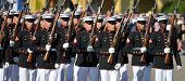 Members of the United States Marine Corps Silent Drill team performing on March 8th, 2008 at MCRD, S