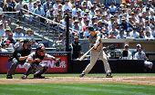 San Diego Padres Shortstop Khalil Greene hitting during a game versus the Detroit Tigers at Petco Pa