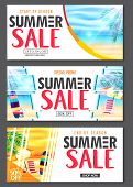 Summer Design Banner With 3d Realistic Beach Resort And Seashore Seascape View With Palm Leaves, Umb poster
