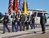 LA JOLLA, CA - OCTOBER 16: Military and police colorguard members participate in a ceremony honoring