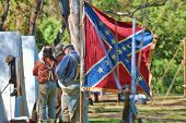 HUNTINGTON BEACH, CA - SEP 04: Confederate flag flies at an encampment honoring the 1861-1865 Americ